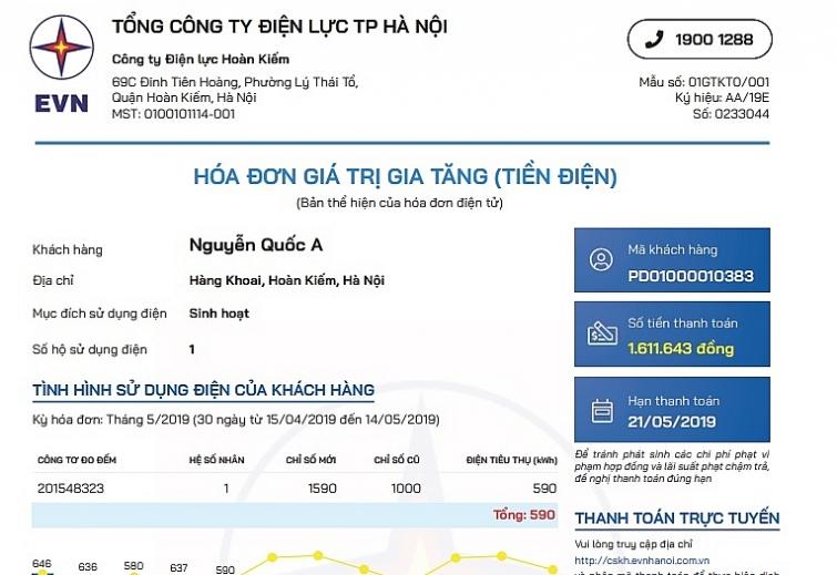evn ban hanh mau hoa don dien tu va thong bao tien dien moi