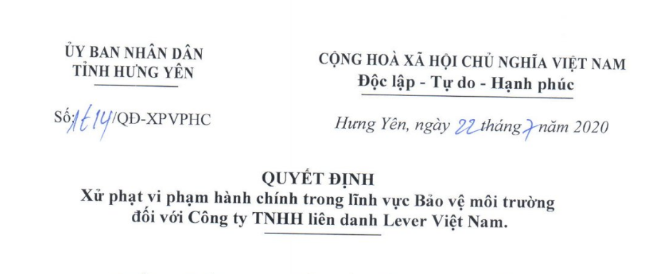 hung yen xu phat cong ty tnhh lien danh lever viet nam 726 trieu dong ve nhung vi pham trong linh vuc bao ve moi truong